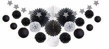 20pcs/Set Black and White Theme Party Decoration (Paper Fans, pompoms, Paper Lantern , Banner Decor) For Event Supplies