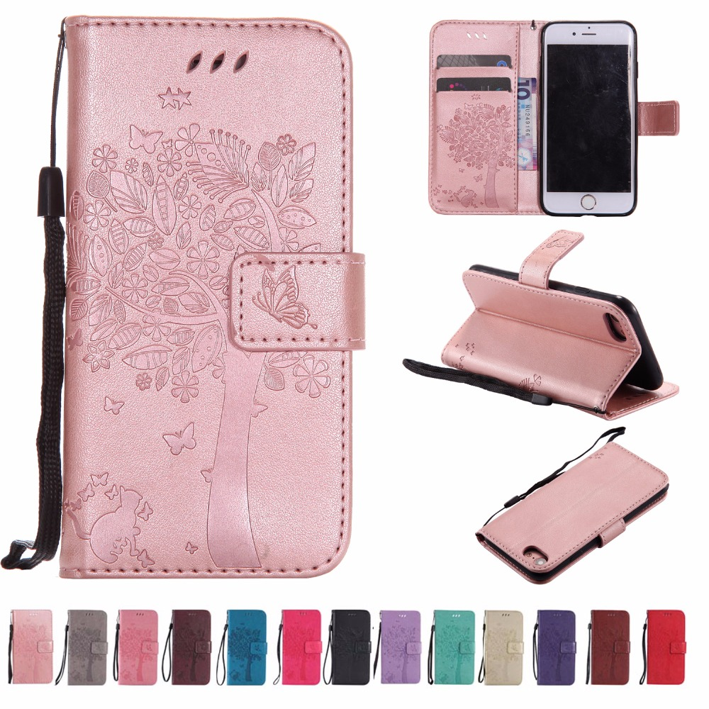 BINUODA For iPhone 7 Case Cat under the Tree Embossed PU Leather Wallet Stand Soft TPU Back Phone Case Cover for iPhone 7