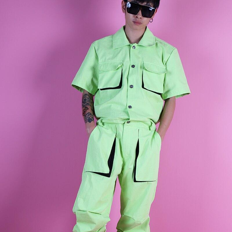 Jumpsuit Men Light Green Partial Fluorescent Tooling Jumpsuit Set Three-dimensional Bag Tooling Hip Hop Street Dance Costume