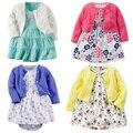 Bebes Long Sleeve Outwear and Dresses Bodysuit Jacket 3pcs soft cotton pieces Baby Girl Dress set for Autumn Infant set