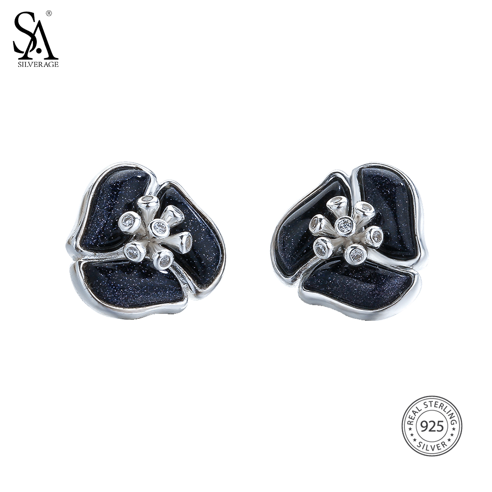SA SILVERAGE Real 925 Sterling Silver Flower Stud Earrings for Women Black Gemstone Earrings With Rhinestones Fine Jewelry 2018