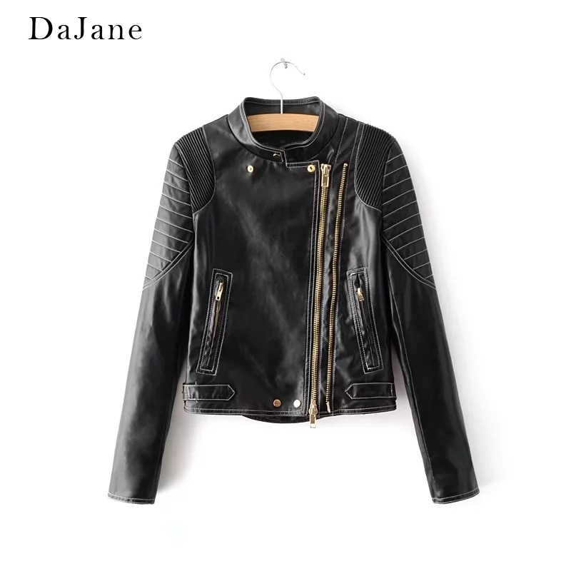 Women's Autumn Winter New Stand Collar Long Sleeve Short Gold Zipper Leather Jacket Jacket Leather Jacket Women