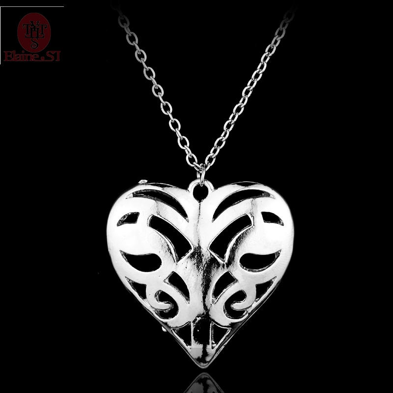 Vampire Diary Vervain Hollow Heart Pendant Choker the Originals Family Caroline Forbes Statement Long Necklace Charm Jewelry