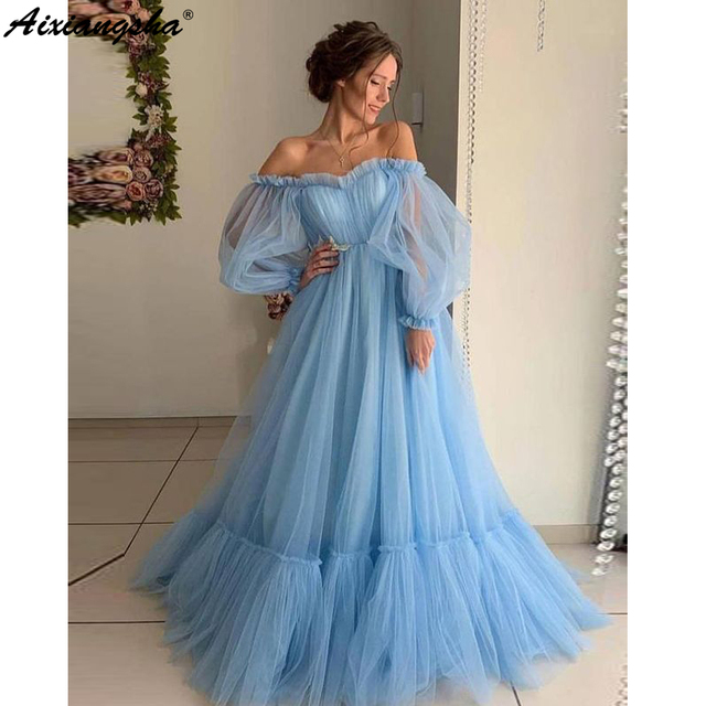 Blue 2019 Prom Dresses A Line Off the Shoulder Sweetheart Tulle Long Sleeves Prom Gown Evening Party Dresses Robe De Soiree