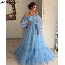 Niebieskie suknie balowe 2019 linia Off the Shoulder Sweetheart Tulle długie rękawy suknia wieczorowa suknie wieczorowe Robe De Soiree