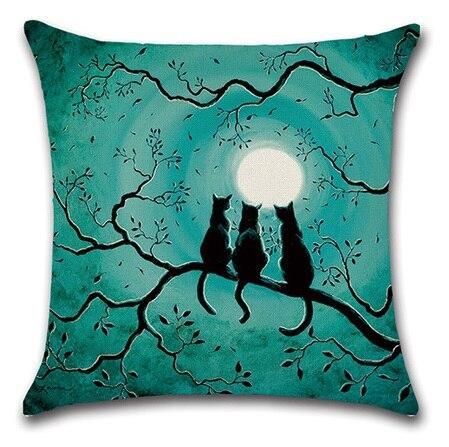 2 հատ / հավաքածու Black Cat Moon Night Night Halloween - Տնային տեքստիլ