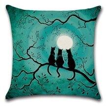2pcs/set Black Cat Moon Night Halloween Cushions Home Decor Cushion Cover Home Sofa Square Pillow Case Decorative Cushion Covers simple black and white moon night design sofa pillow case
