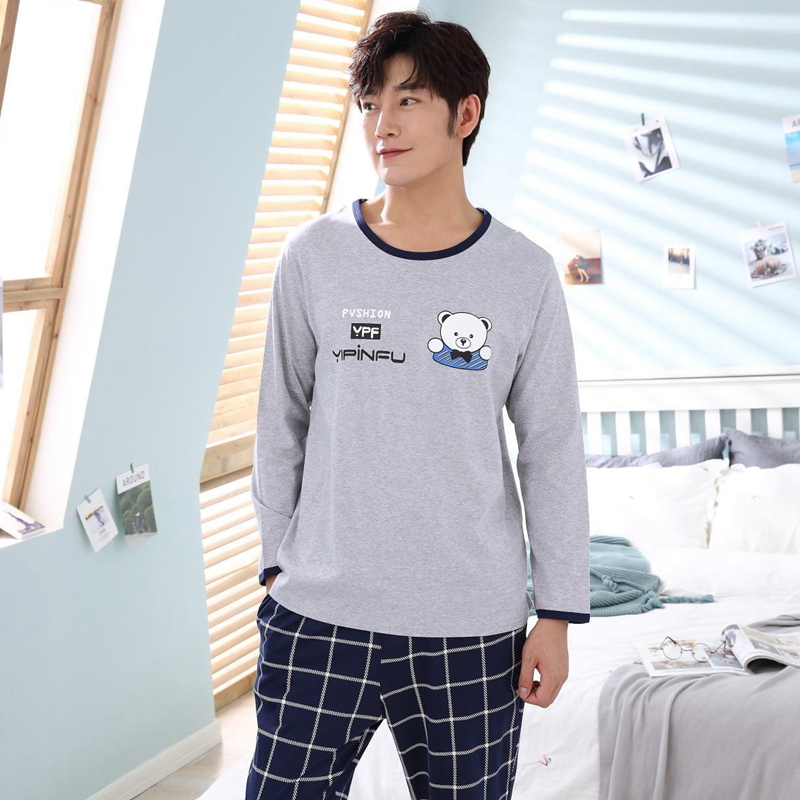 2018 Autumn Winter Cotton Pajama Set For Men Long Sleeve Cartoon Pyjama Male Casual Plaid Pants Homewear Loungewear Home Clothes