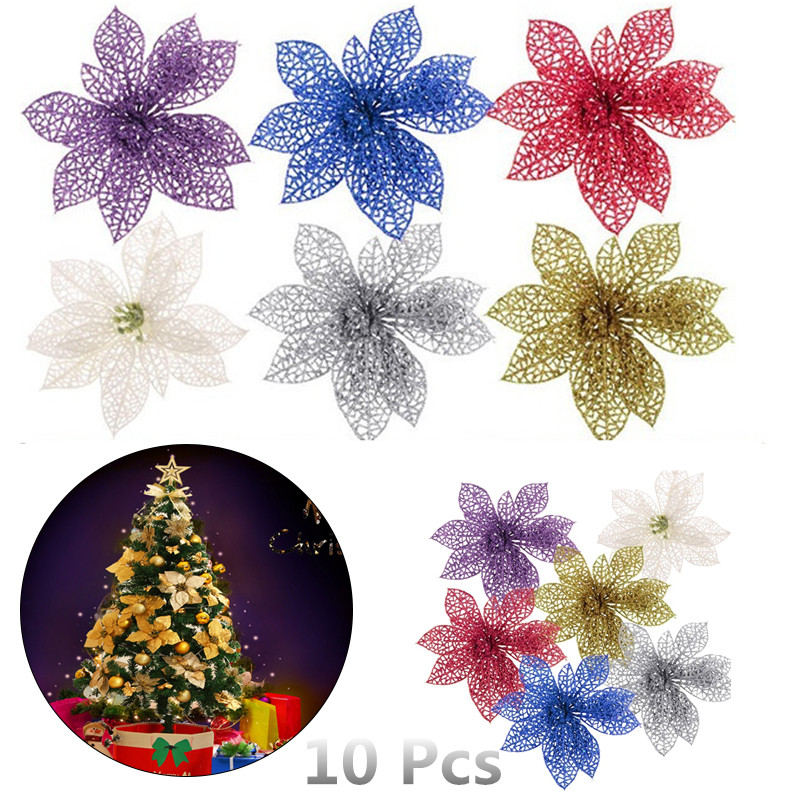 10pcs Artificial Hollow Flowers Beautiful Ornament Hanging on The Christmas Tree