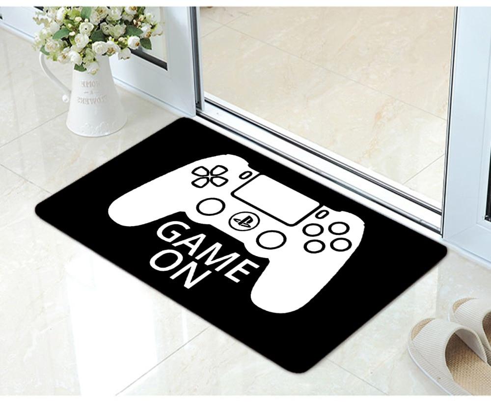 Vintage Black Gamer Controller Decorative Door mat Funny Video Game Sofa Doormat Square Gaming Game Gifts