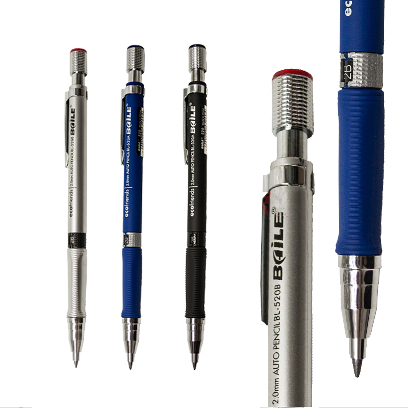 2.0mm Mechanical Pencil Lead Holder 2B Lead Refill Set Automatic Drafting Draughting Pencil Sketch Tools For Drawing Art Supply