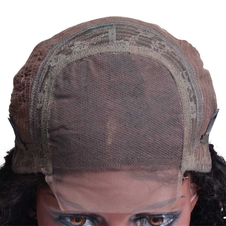 Вьющиеся волосы человека парик бразильский Синтетические волосы на кружеве человеческих волос 4x4 застежка парики для черный Для женщин Бесплатная доставка