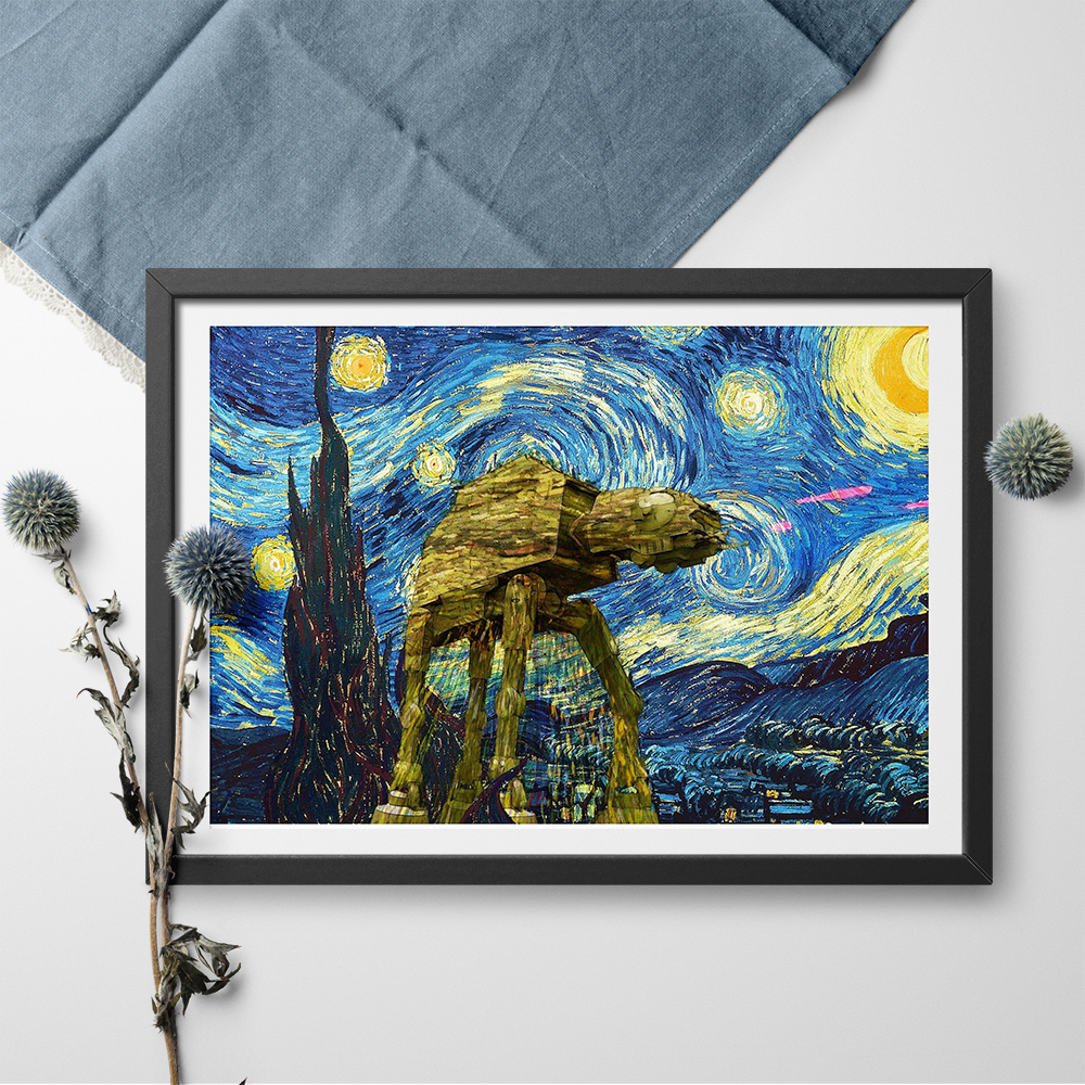 Us 8 72 vincent van gogh starry night star wars canvas painting poster and print wall art picture modern wall art picture home decor in painting
