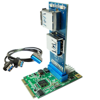 Mini PCI epress to 2 USB 3.0 ports adapter mini PCIe to 19Pin USB header to Dual USB3.0 spiltter adapter + cable