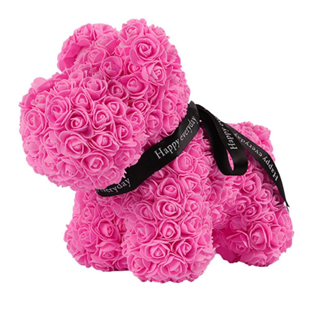 Искусственные цветы розы Медведь собака кролик Мопс юбилей день Святого Валентина подарок на день рождения мать подарок Свадебная вечеринка украшение - Цвет: 40CM pink Dog