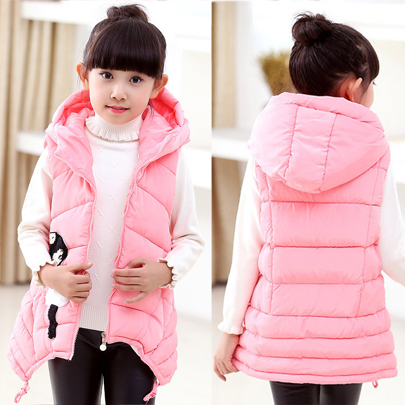 Child Waistcoat Children Outerwear Winter Coats Vest for Girls Kids Clothes Fashion Warm Cotton Teen Girl Vest Jacket 5 12Y-in Vests from Mother & Kids