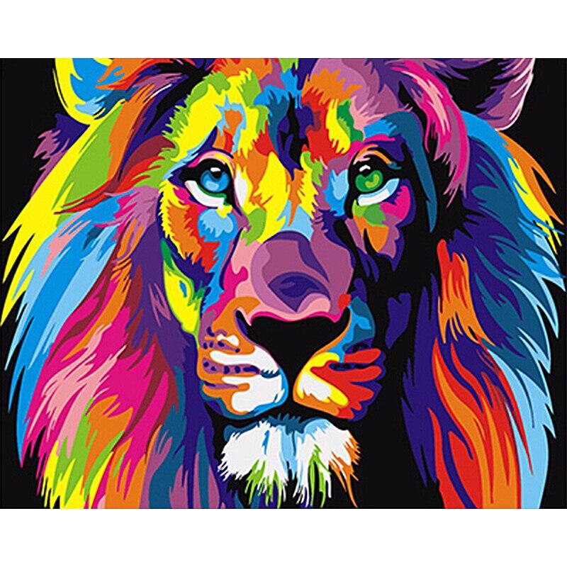 Rahmenlose bunte lions tiere diy malerei by zahlen einzigartiges geschenk moderne wandkunst leinwand anstrich für hauptdekoration 40x50 cm