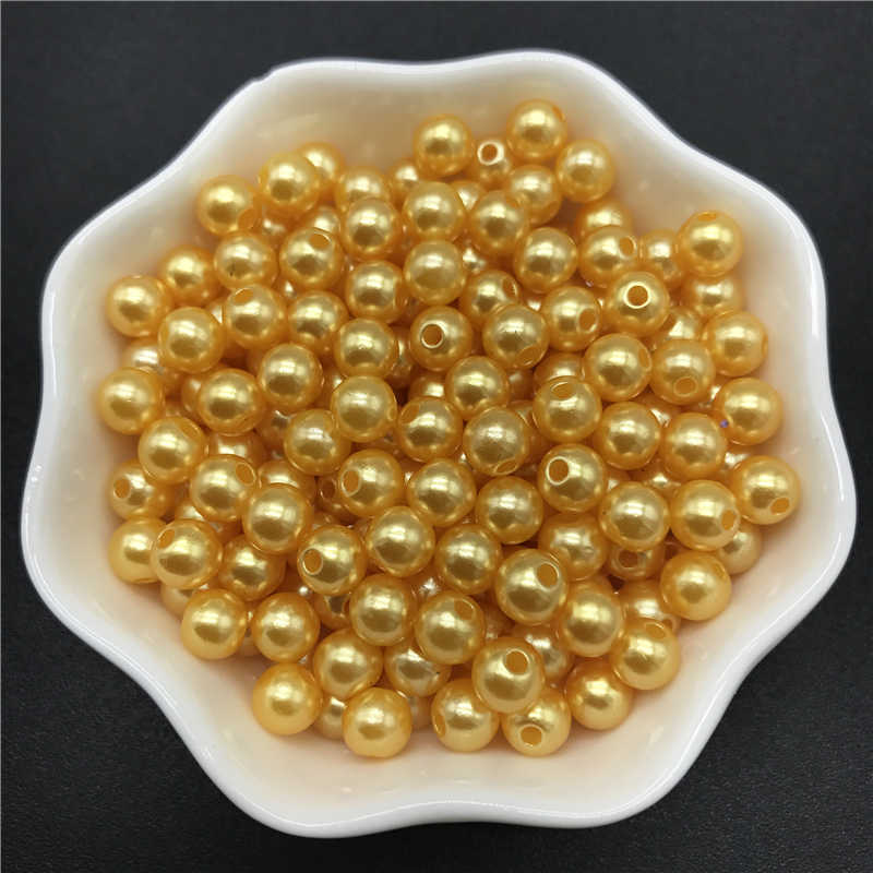 4mm 6mm 8mm 10mm Gold Imitation Pearls Acrylic Beads Round Pearl Spacer Loose Beads For Jewelry Making