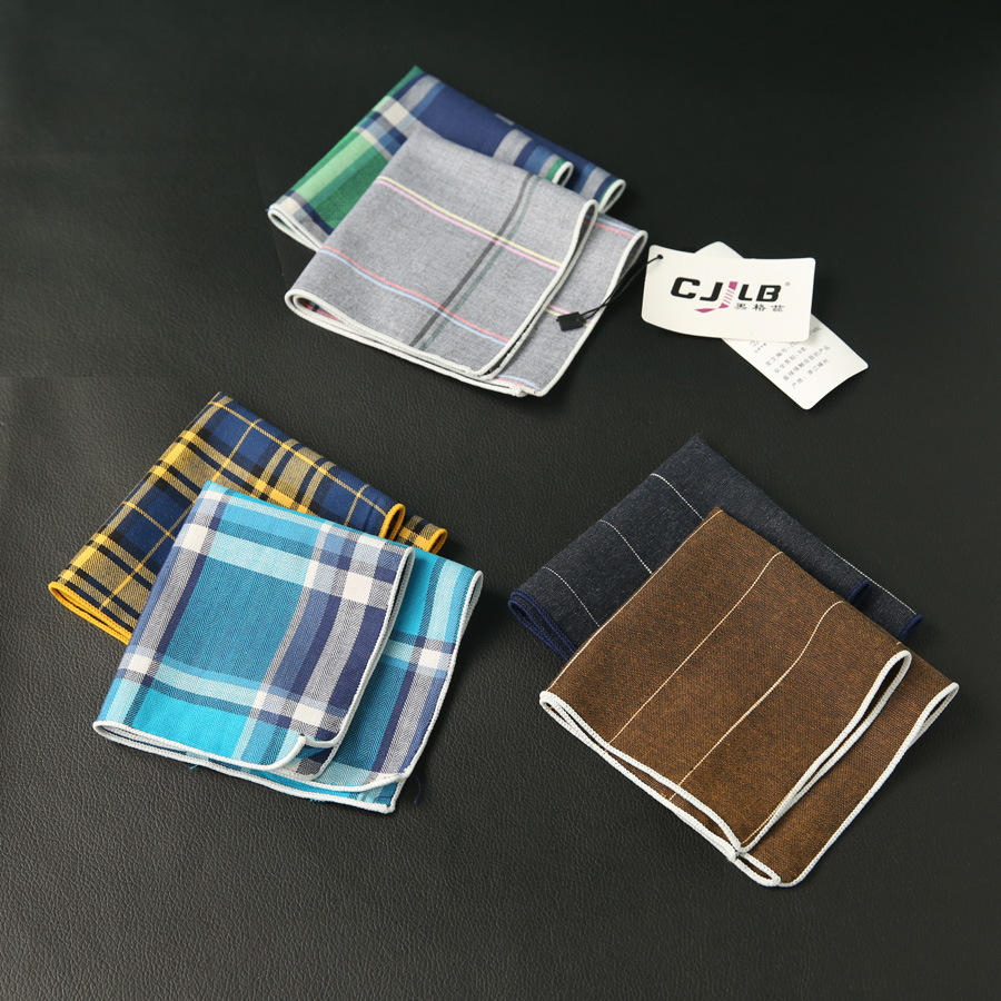 New Fashion Designer Men's Casual Print Plaid Pocket Squares Handkerchief Cotton Hanky 24x24cm 10pcs/lot