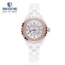 SKONE Brand 2017 New Luxury Snow White Women Ceramic Watch Fashion Geneva Female Watches Lady Quartz Wrist watches relojes mujer