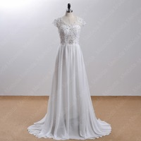 Sexy New Arrival Hot Sale A Line Chiffon Wedding Dress 2015 Floor Length Backless See Through