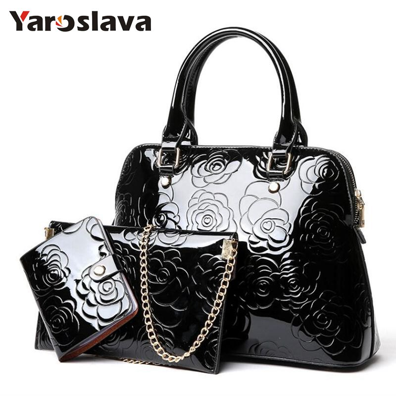 High Quality Patent Leather Women Handbags Luxury Floral 3 Sets Ladies Composite Bag Fashion Shell Bags For Women Shoulder LL106 fourdesigns women s leather luxury shell handbags fashion national flag print ladies shoulder