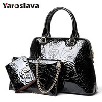 High Quality Patent Leather Women Handbags Luxury Floral 3 Sets Ladies Composite Bag Fashion Shell Bags For Women Shoulder LL106