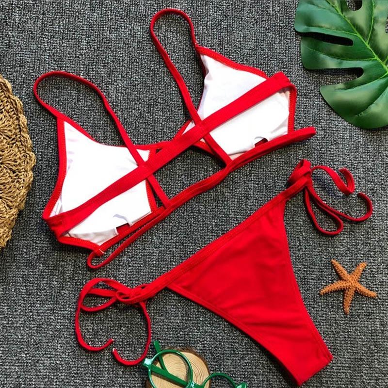 Hollowed Red Sexy Bikini Set Women String Swimsuit Push Up Swimwear 2019 Tied Thong Brazilian Bikini Bathing Suit Swim Wear 4
