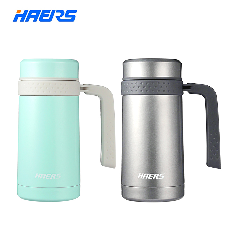 Haers Stainless Steel Coffee Mug Vacuum Insulated Thermos Mug With Handle 450ml