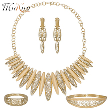 MUKUN 2018 Nigerian Wedding African Beads Jewelry Set Dubai Gold color Costume Jewelry Necklace Sets Fashion Parure Bijoux