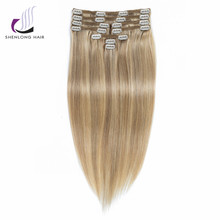 SHENLONG HAIR Weaving Mongolian Straight Remy 100% Human Hair Weaving Clip In Hair Extensions #P18/22 9pcs /set  Mixed colors