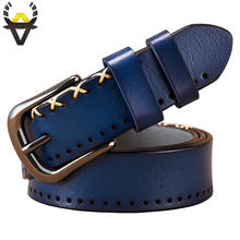 Genuine leather belts for women Fashion designer stitching up woman belt Quality Pin buckle cow skin strap female width 2.8 cm