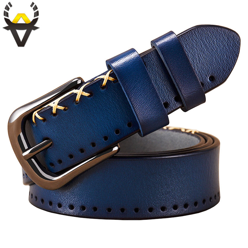 Genuine leather belts for women Fashion designer stitching up woman belt High quality thin Pin buckle jeans strap Second cowskin