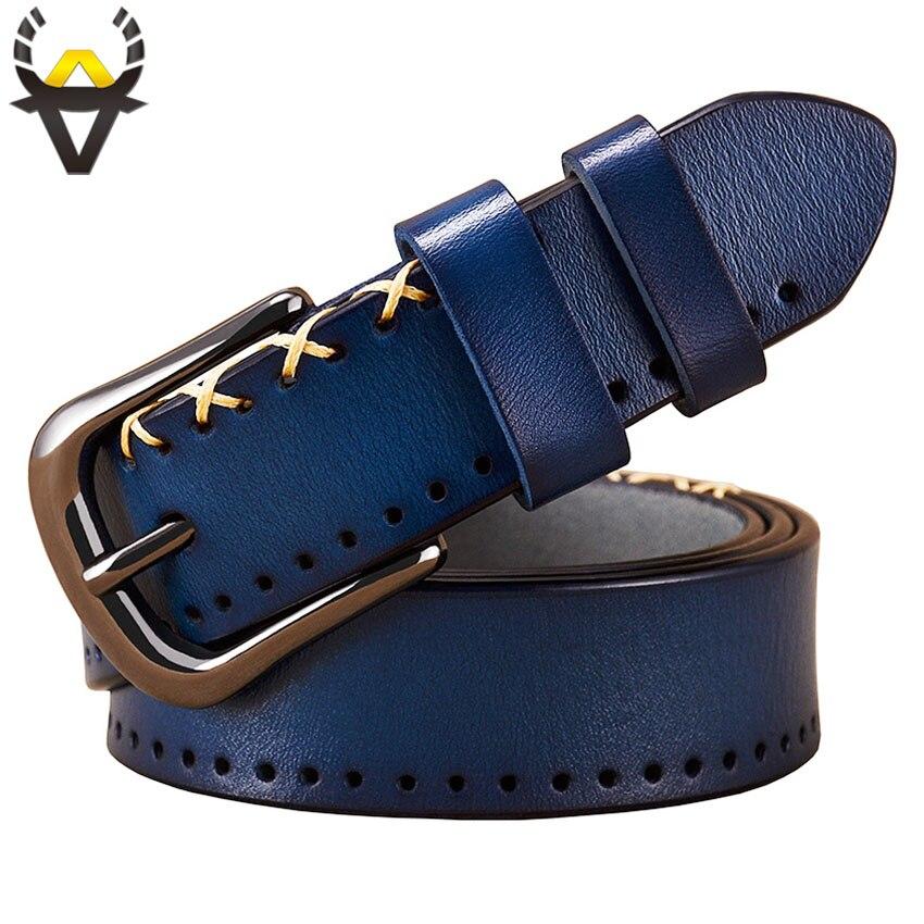 Véritable ceintures en cuir pour femmes De Mode designer couture up femme ceinture Haute qualité mince boucle Ardillon jeans sangle Deuxième cowskin