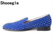 SHOOEGLE Blue Suede Studded Spikes Moccasins Shoes Mens Smocks Slipper Casual Men Party Dress Apartments Loafers