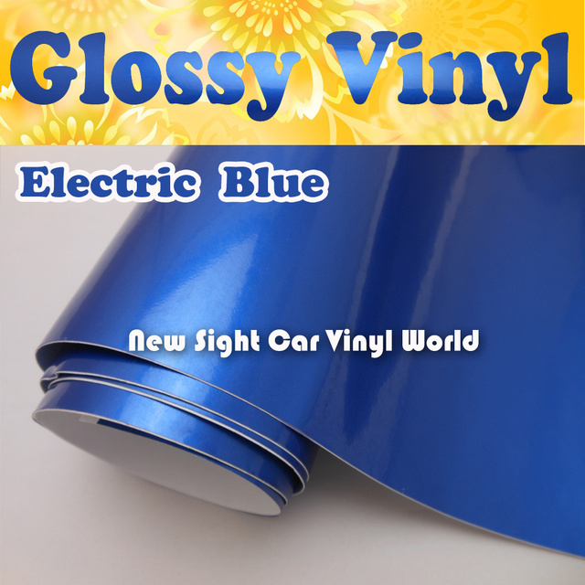 3 Layers Glossy Electric Blue Vinyl Wrap Film Foil Air Free For Car Wrapping Size:1.52*20m/Roll