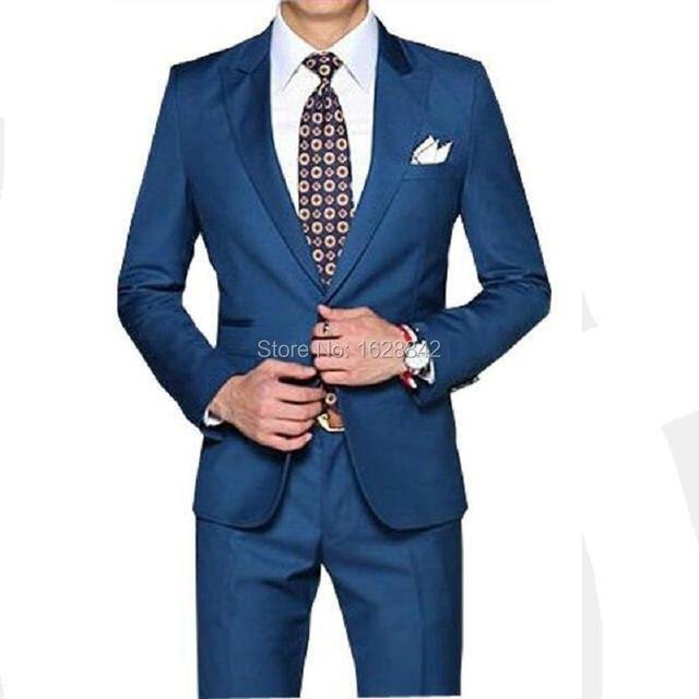 2016 Новое Прибытие Прямые Голубые Мужчины Смокинги Пик Нагрудные Свадебные Костюмы для Мужчин 2 Шт. Мужские Костюмы Slim Fit Для Свадьбы мужчины костюмы