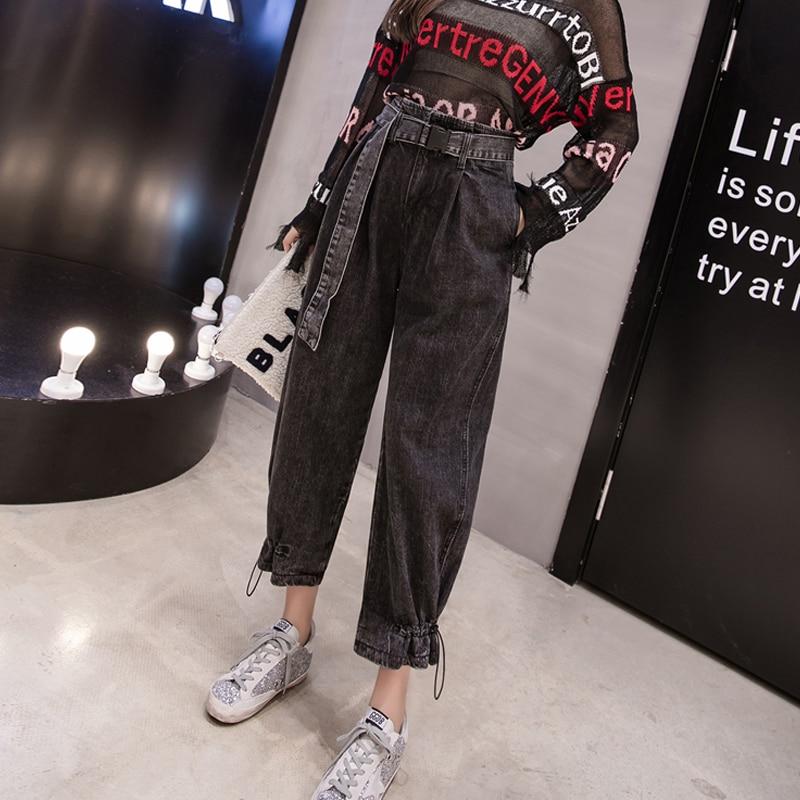Cintura Mujer De Harem Mujeres Otoño 2018 Casual Streetwear Novio Las Pantalones Negro Elástico Mezclilla Alta Celebridad Vaqueros Abrigo nZpwRYHq1