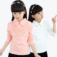 2017 Autumn Winter Girls Warm Plus Velvet Lace Blouse Shirts For Girls Clothes Children Clothing Princess