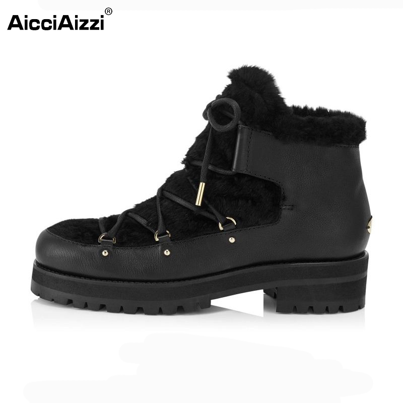 ФОТО Winter Genuine Real Leather Boots Women Plush Ankle Snow Boots Feminina Casual Platforms Fashion Lace Up Women Shoes Size 33-43