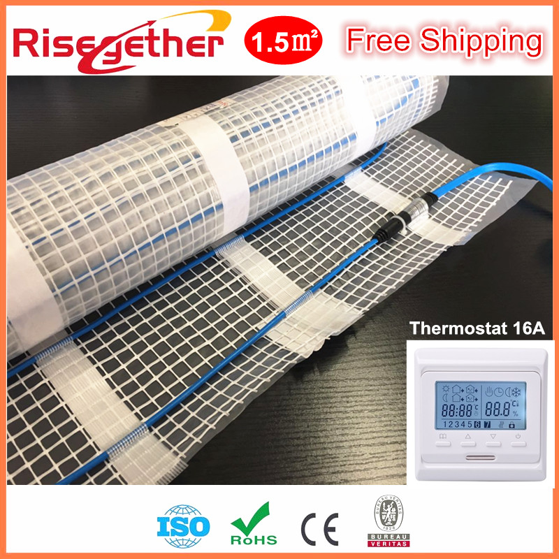 1.5M2 225W Heating Mat Kits In Sale Manufacture Price 220V Warm Floor Heating Cable Mat &Thermostat Free Shipping Heating Mat