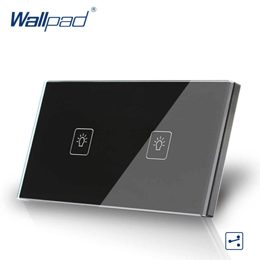 2 Gang 2 Way 3 Way Black AU US Standard 118*72mm Wallpad Crystal Glass Two Way Control Touch Switch,  Free Shipping free shipping us au standard touch switch 3 gang 2 way control crystal glass panel wall light switch kt003dus