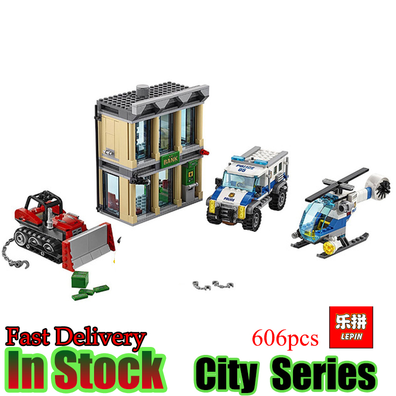 Lepin 02019 606Pcs City Series The Bulldozer Break-in set Children Educational Building Blocks Bricks Boy Toys Compatible 60140 1713 city swat series military fighter policeman building bricks compatible lepin city toys for children
