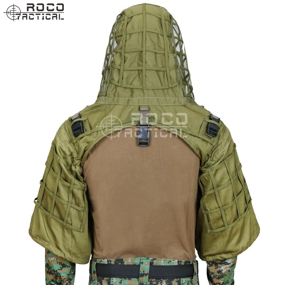 ROCOTACTICAL Militaire Sniper Ghillie Viper Capot Combat Ghillie Costume Fondation Personnalisé Ghillie Capot Veste Camouflage Woodland - 4