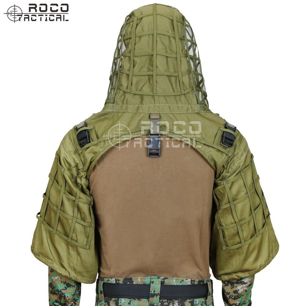 Rocotactique militaire Sniper Ghillie Viper capuche Combat Ghillie costume fondation personnalisée Ghillie capuche veste Camouflage boisé - 4