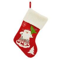 Free Shipping Lovely 1 Pc Christmas Stocking 18 Santa Claus Gift Sock Festival Xmas Socks Gift