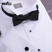 Men s Tuxedo Shirt French cufflinks banquet small turn down collar high quality 140 cotton yarn