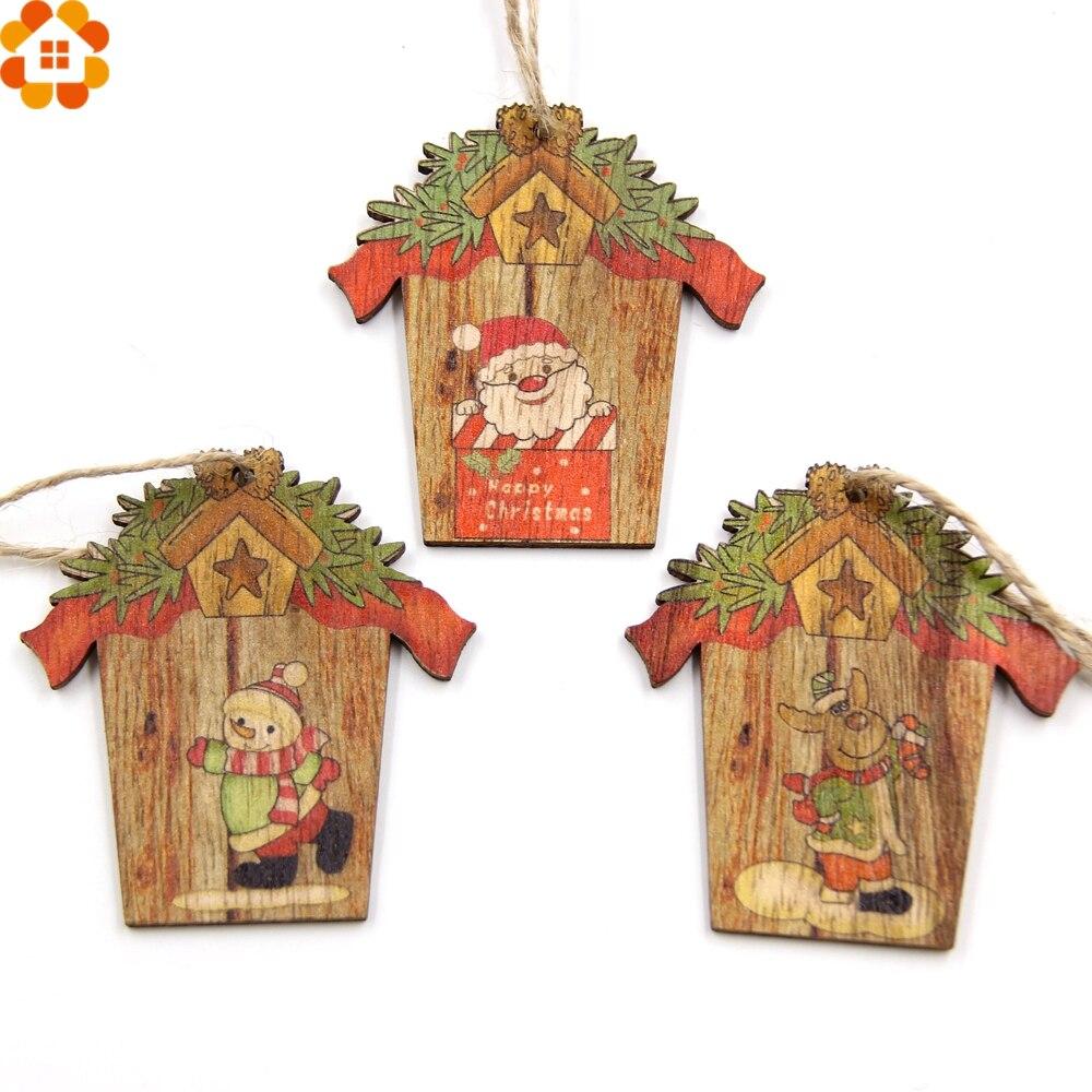 9 шт. творческий дом Рождество деревянный Подвески елка Украшения DIY Изделия из дерева дома для рождественской вечеринки украшения подарок ... ...