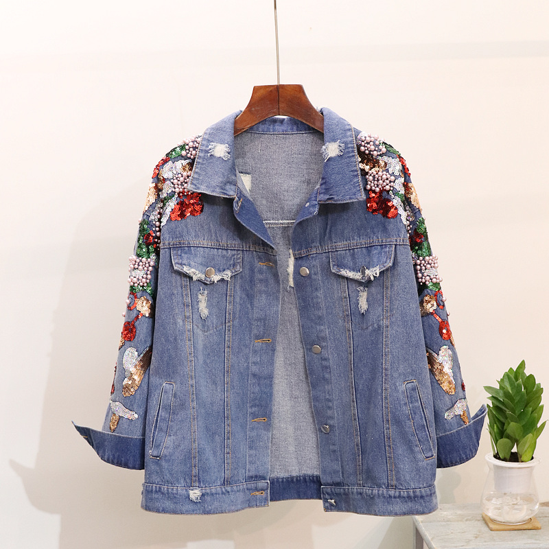 buying now best deals on shoes for cheap Beading Sequined denim jacket coat Women Autumn denim jackets ...