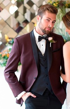 High Quality One Button Burgundy Groom Tuxedos Shawl Lapel Groomsmen Best Man Mens Wedding Suit (Jacket+Pants+Vest+Tie) W:219